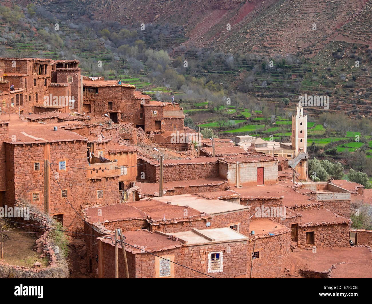 Mud-brick village of Anammer, Ourika Valley, Atlas Mountains, Marrakech-Tensift-Al Haouz, Morocco - Stock Image