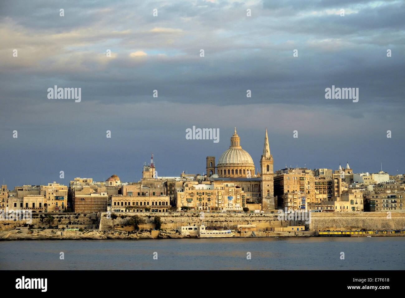 Valletta with the Carmelite Church, Valletta, Malta - Stock Image