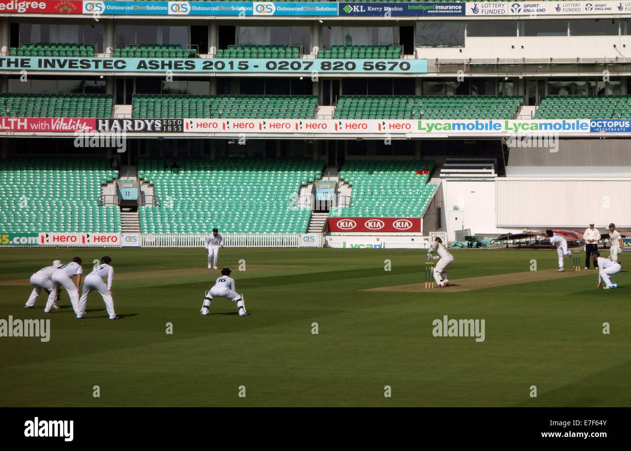County cricket match at The KIA Oval ground in London - lack of spectators - Stock Image