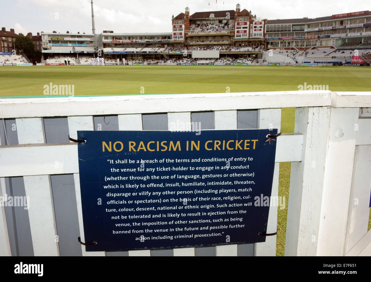 Notice about racism in cricket at The Oval cricket ground, London - Stock Image