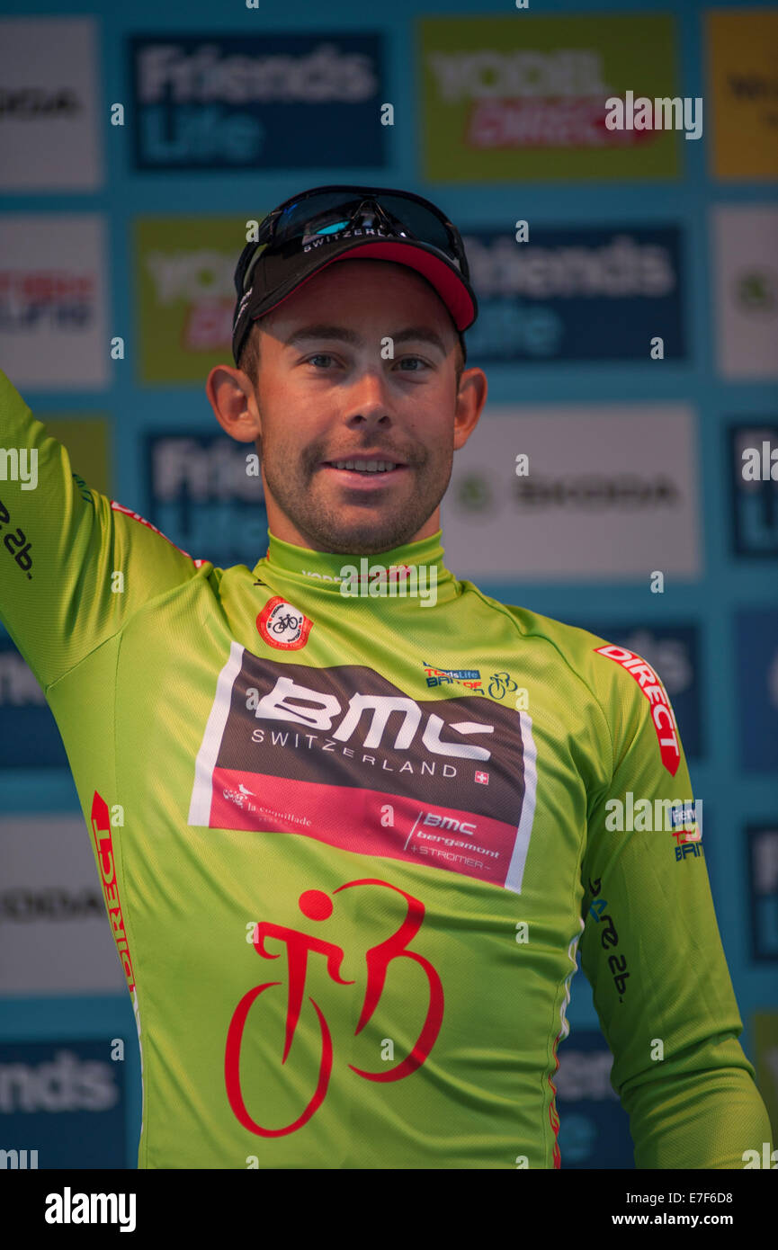 Sebastian Lander wins the Yodel Direct Sprints Jersey at the Friends Life Tour of Britain final - Stock Image