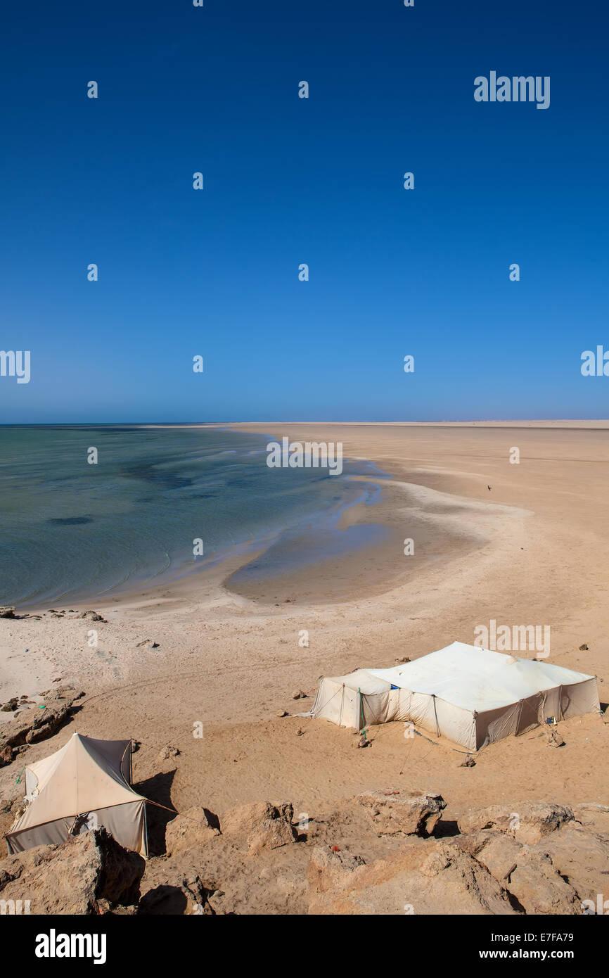the desert and  the sea in western sahara near Daklha - Stock Image