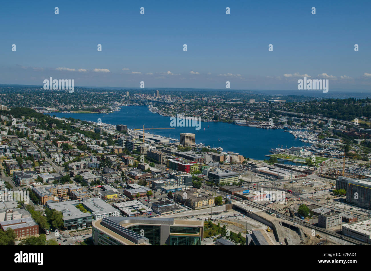 View of Lake Union from Space needle, Seattle - Stock Image