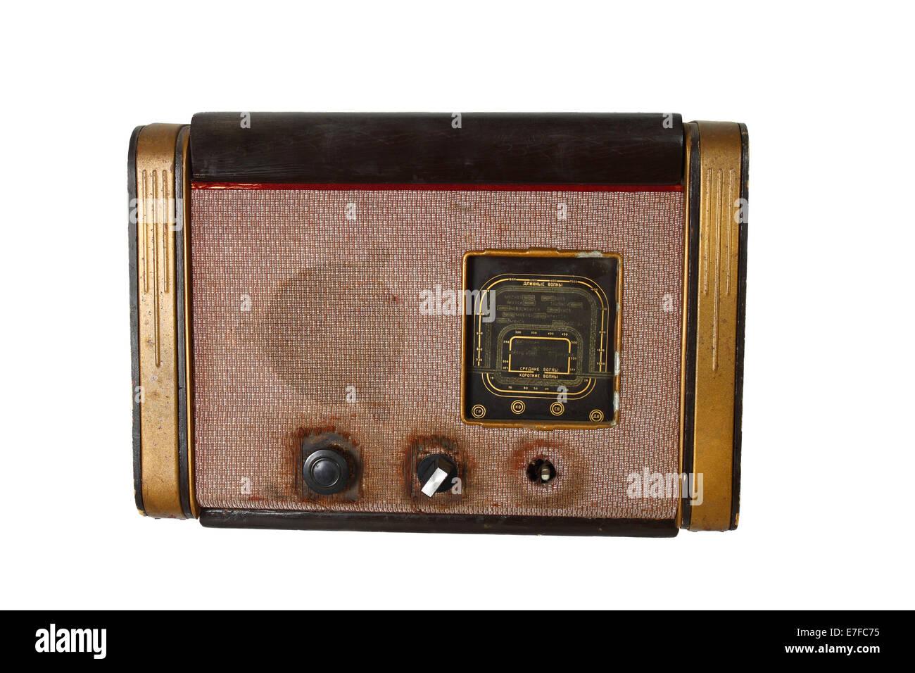 Vintage radio isolated on white background - Stock Image