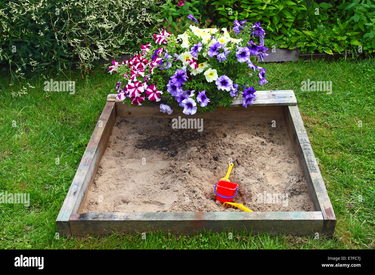 Sandbox in garden with flowers above it - Stock Image