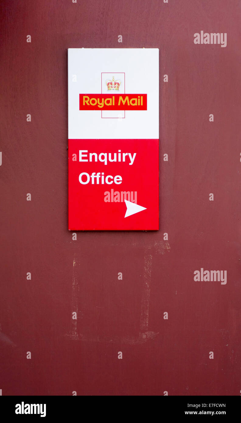 Royal Mail Enquiry Office sign - Stock Image