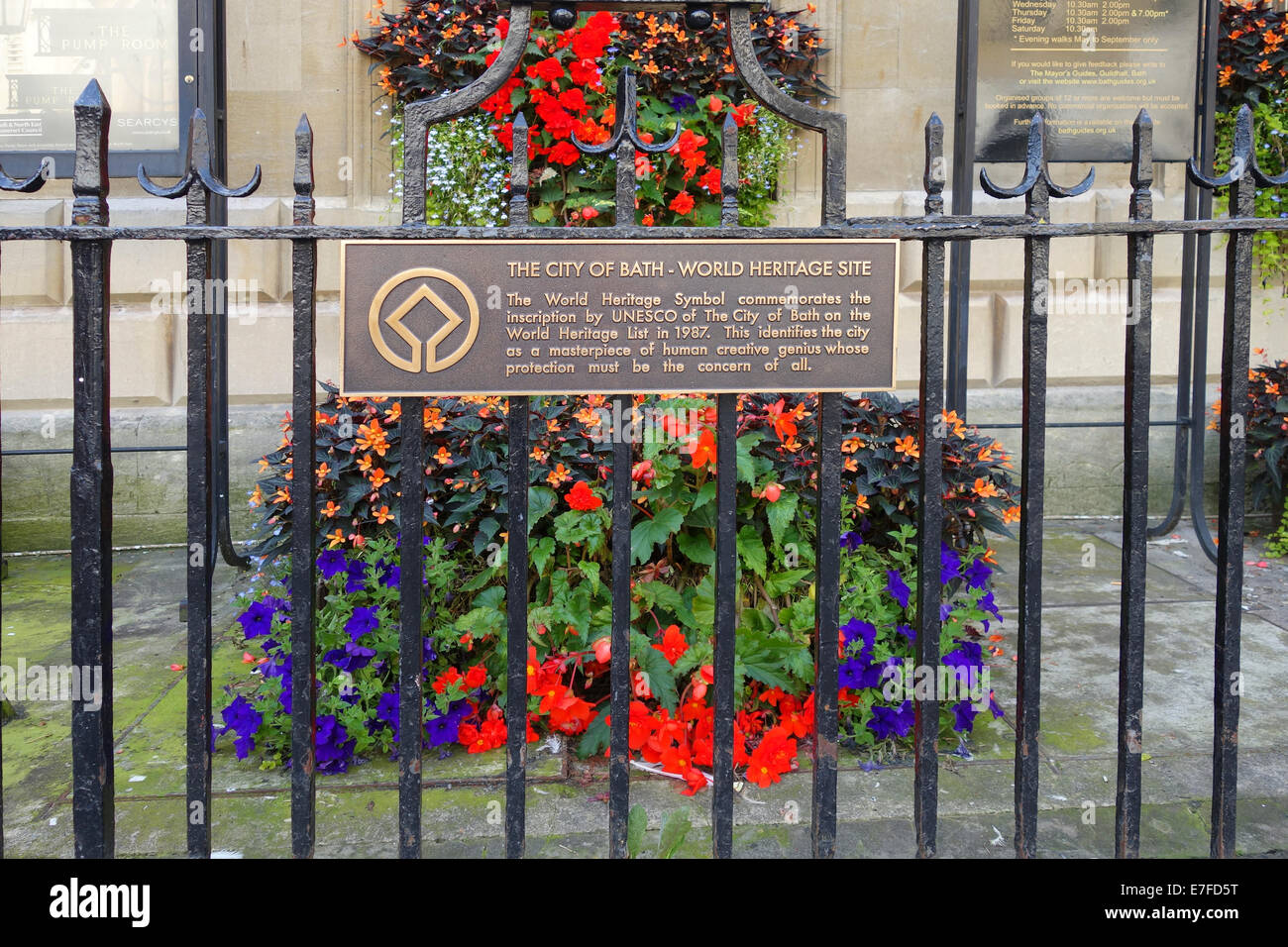 City of Bath World Heritage Site plaque, Bath, Somerset - Stock Image