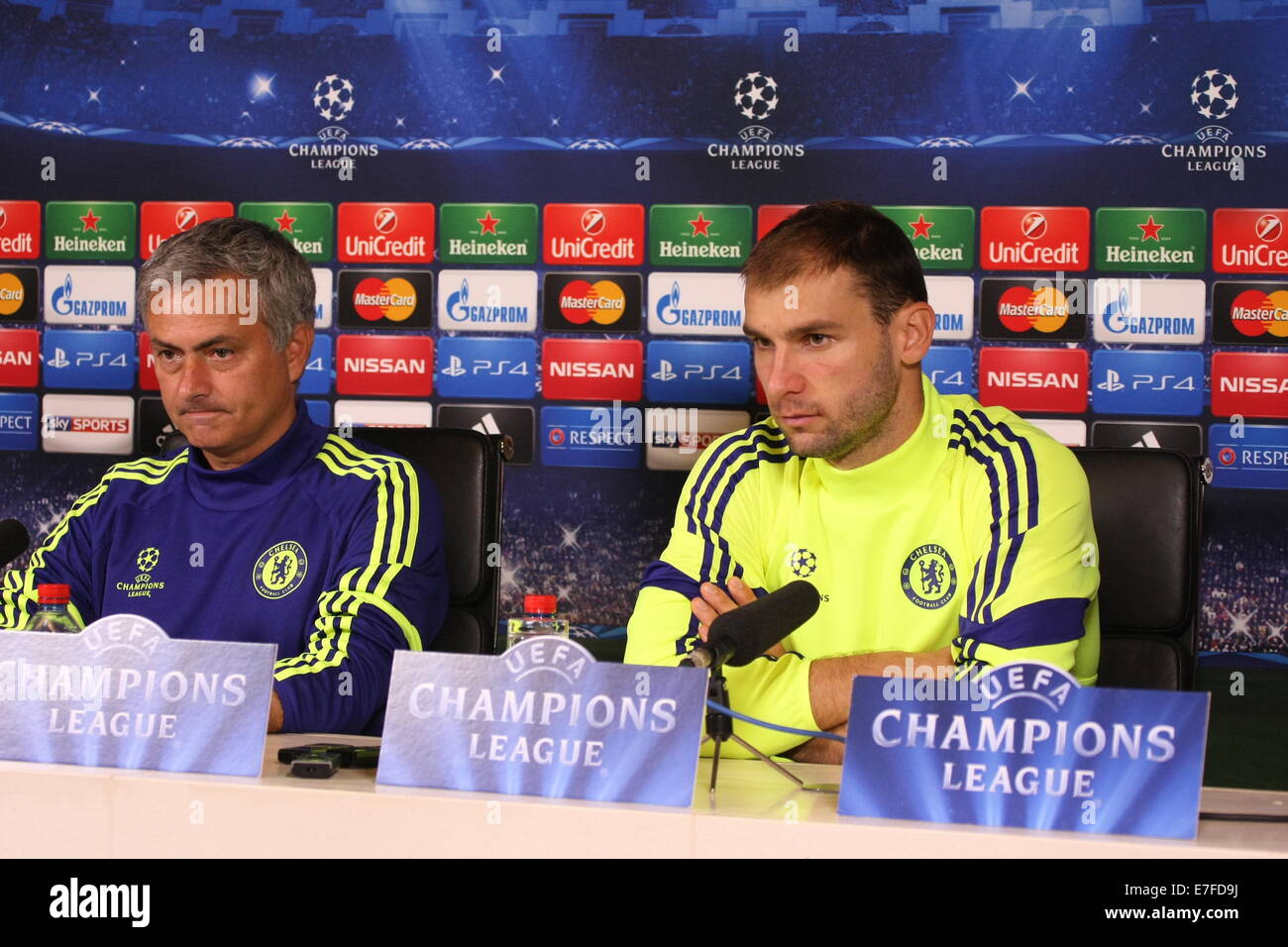 Nemanja Matic, Chelsea Football Club talks to media priot yo Champions league match against Schalke - Stock Image