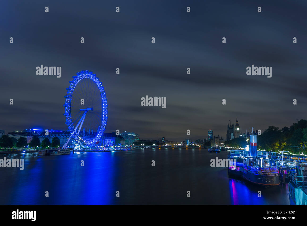 London Eye and Big Ben at night, Thames River, Westminster, London, England, United Kingdom Stock Photo