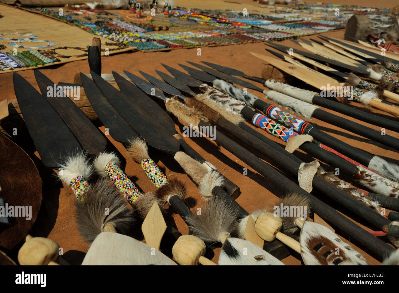 Eshowe, KwaZulu-Natal, South Africa, collection of Zulu spears and curios for sale, Shakaland culture village, objects, - Stock Image