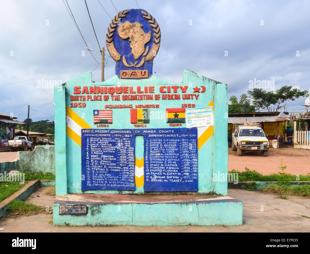 Sanniquellie city, Nimba County, Liberia, memorial to the birth of the OAU, now known at the AU (African Union) - Stock Image