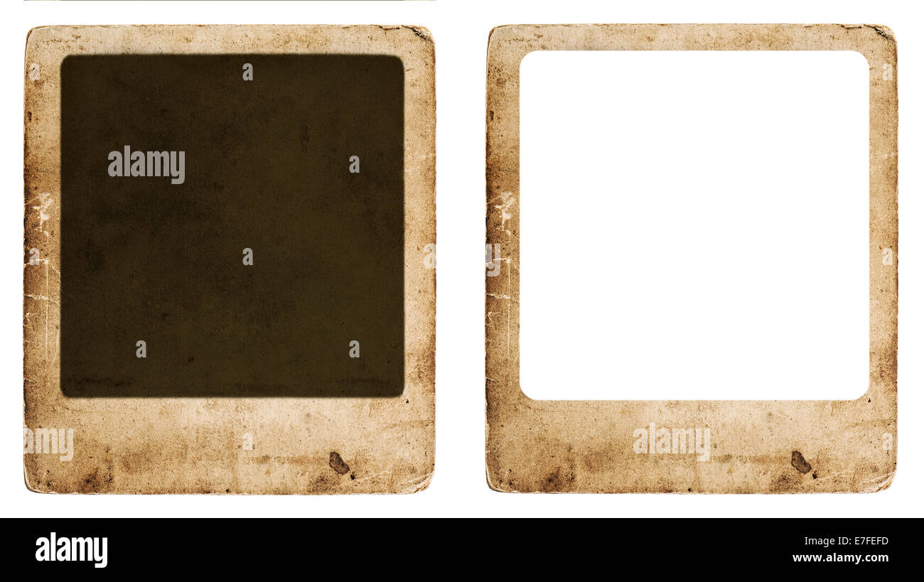 aged paper photo frame isolated on white background. old vintage grunge cardboard with space for your picture Stock Photo