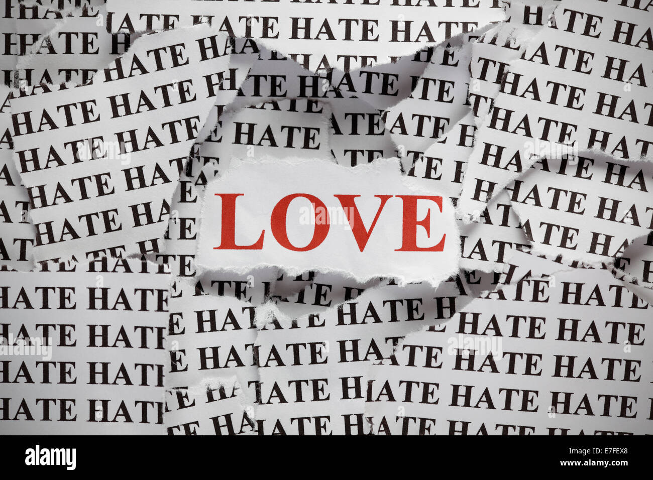 Torn Pieces Of Paper With The Word And Word Love In Red Color Concept Image Close Up