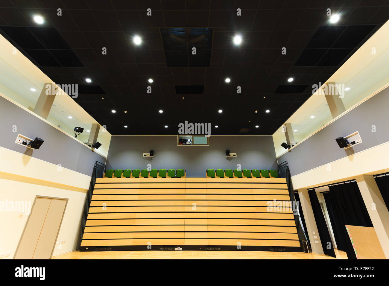 Auditorium at Park Community School with retractable motorised seating. - Stock Image