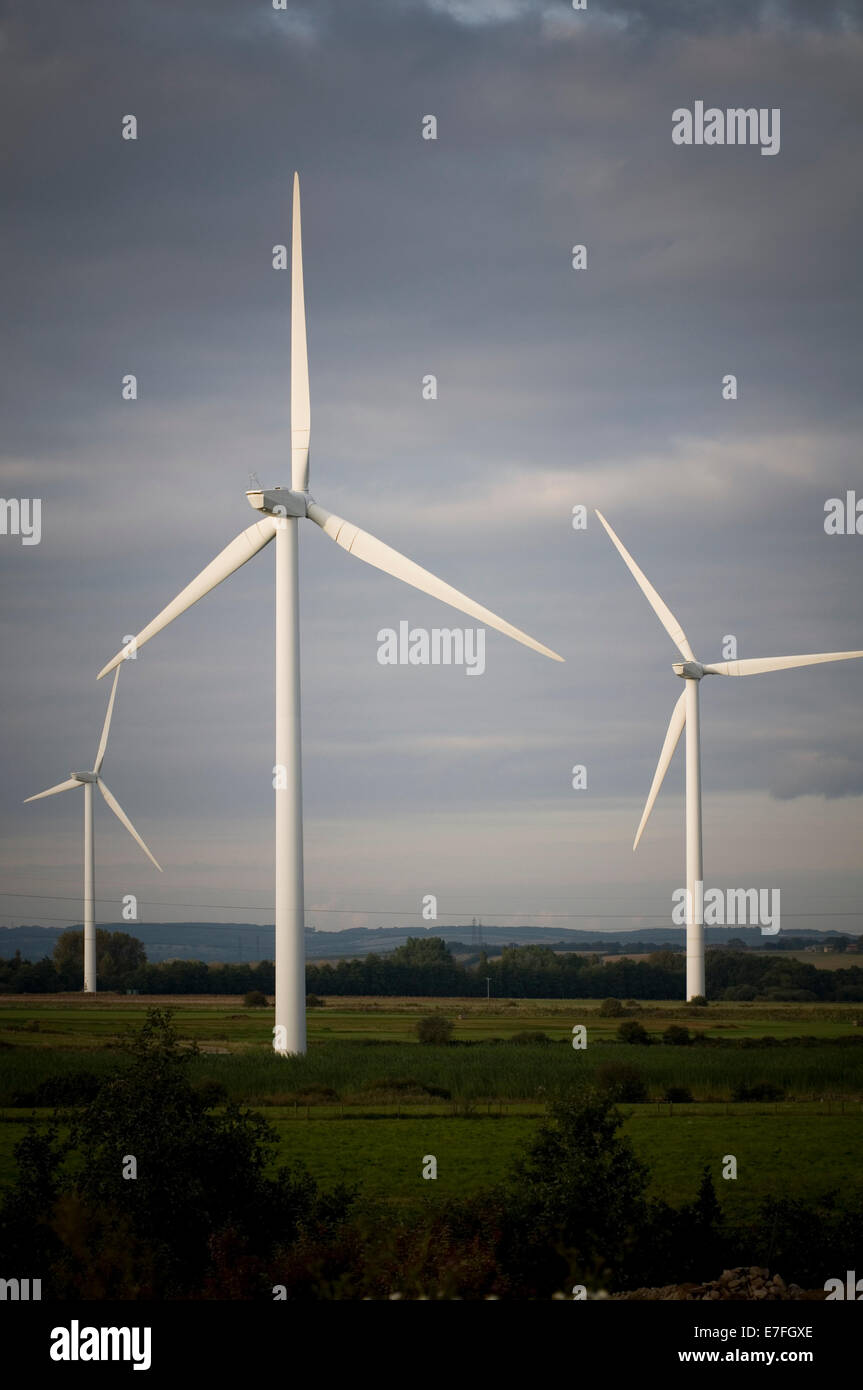 wind turbines turbine windmill windmills power powered renewable renewables energy source sources - Stock Image