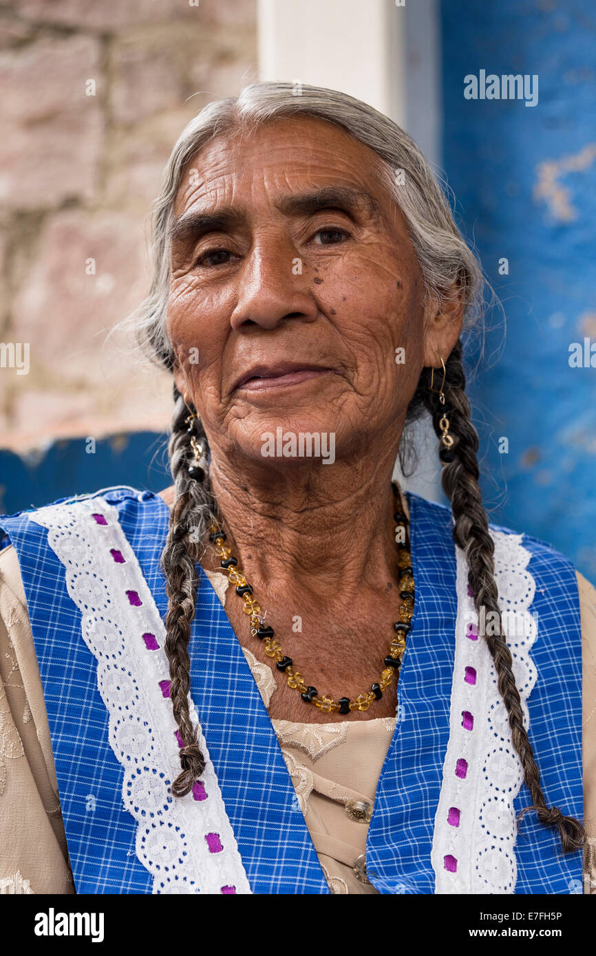 Old woman with braids, Mitla, Mexico - Stock Image