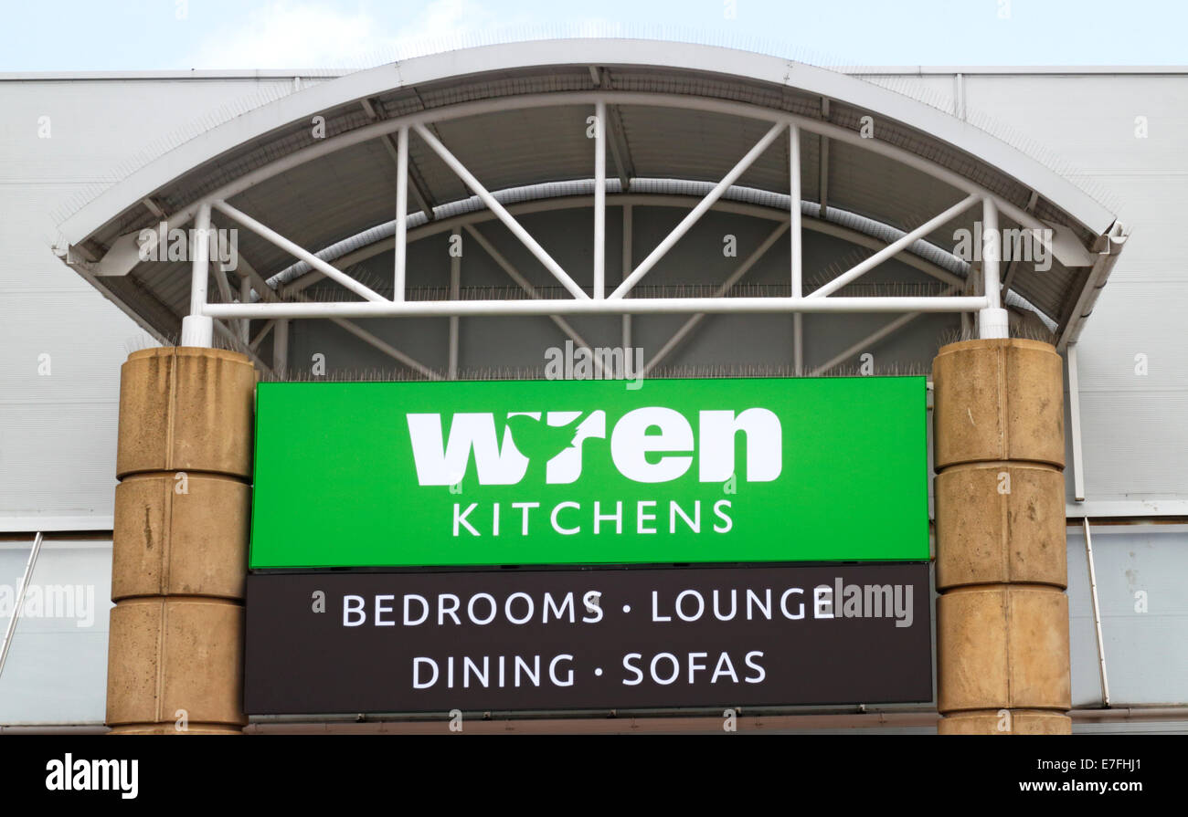 a view of wren kitchens shop sign at sprowston retail park norwich