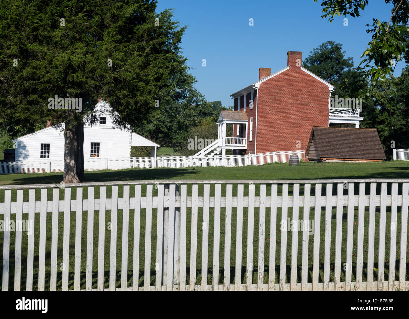 McLean House was the building in Appomattox which was the site of the surrender of Southern Army under General Robert - Stock Image