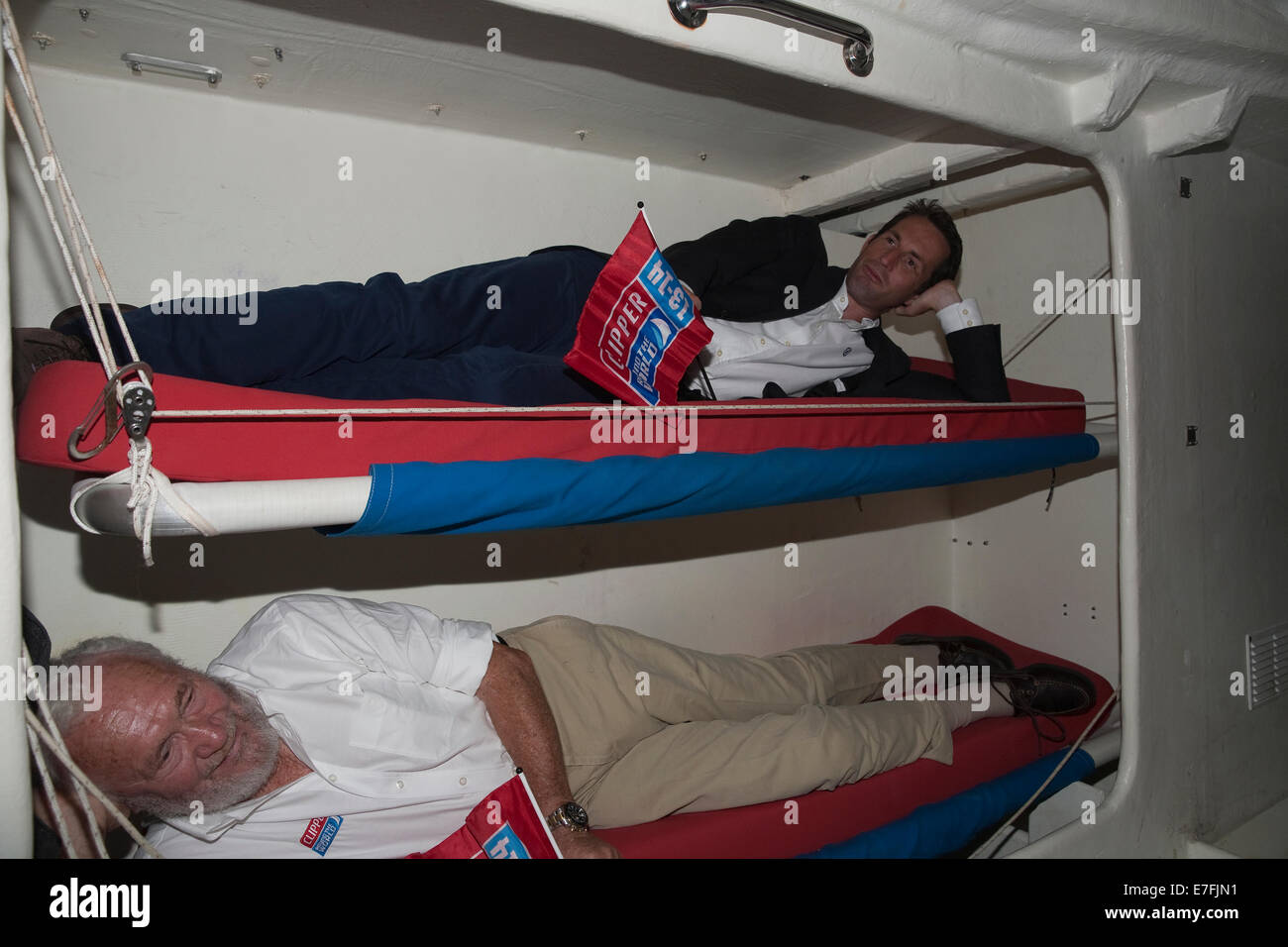 Sir Ben Ainslie And Sir Robin Knox Johnston On Bunk Beds Onboard The