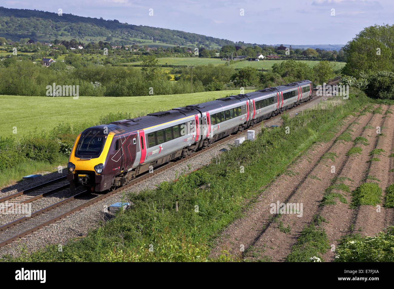 axc voyager heads north through defford, worcestershire with a plymouth - leeds service on 2/6/13. - Stock Image