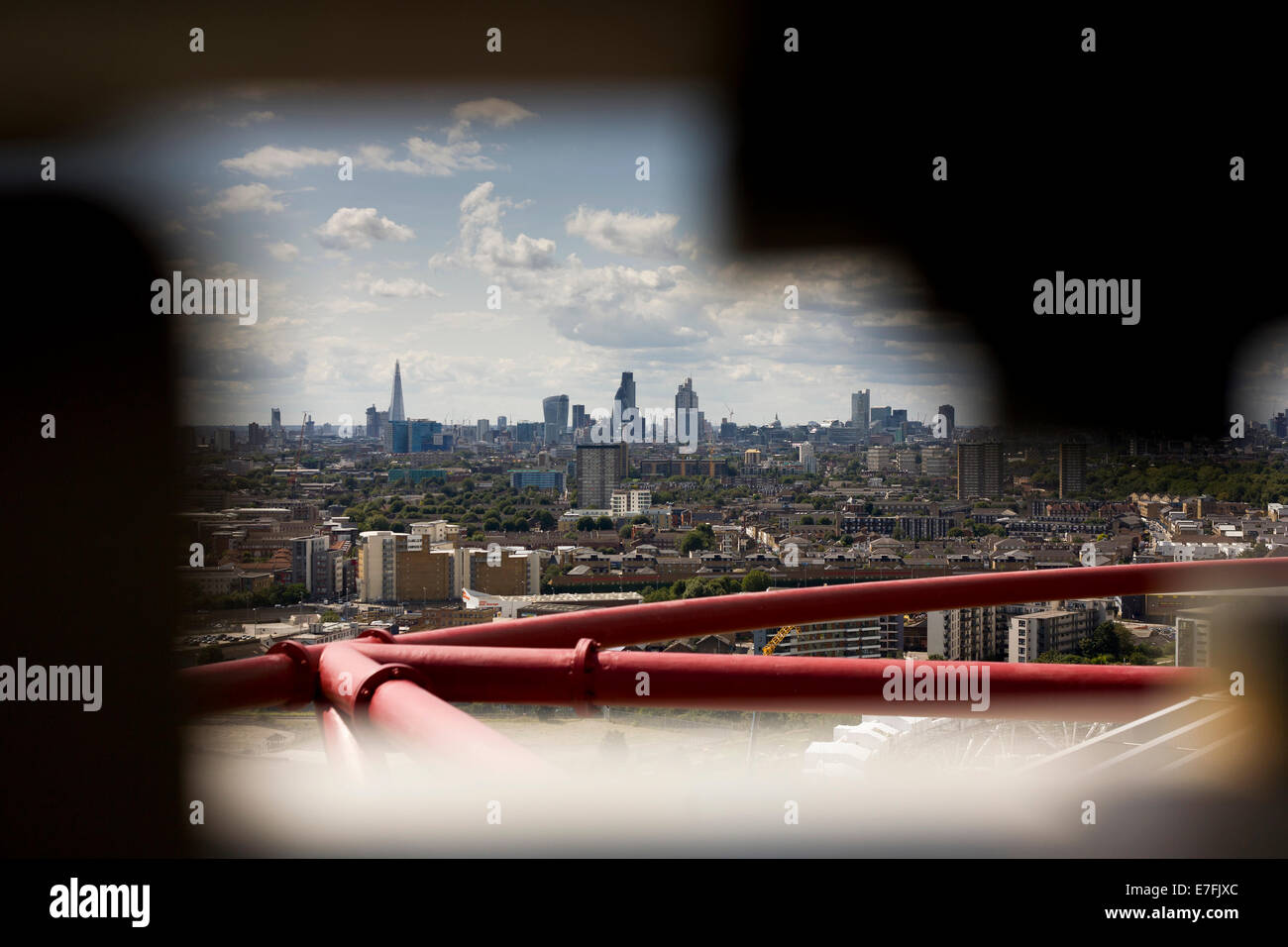 A view from the ArcelorMittal Orbit in the Queen Elizabeth Olympic Park across London, the City and the Shard - Stock Image