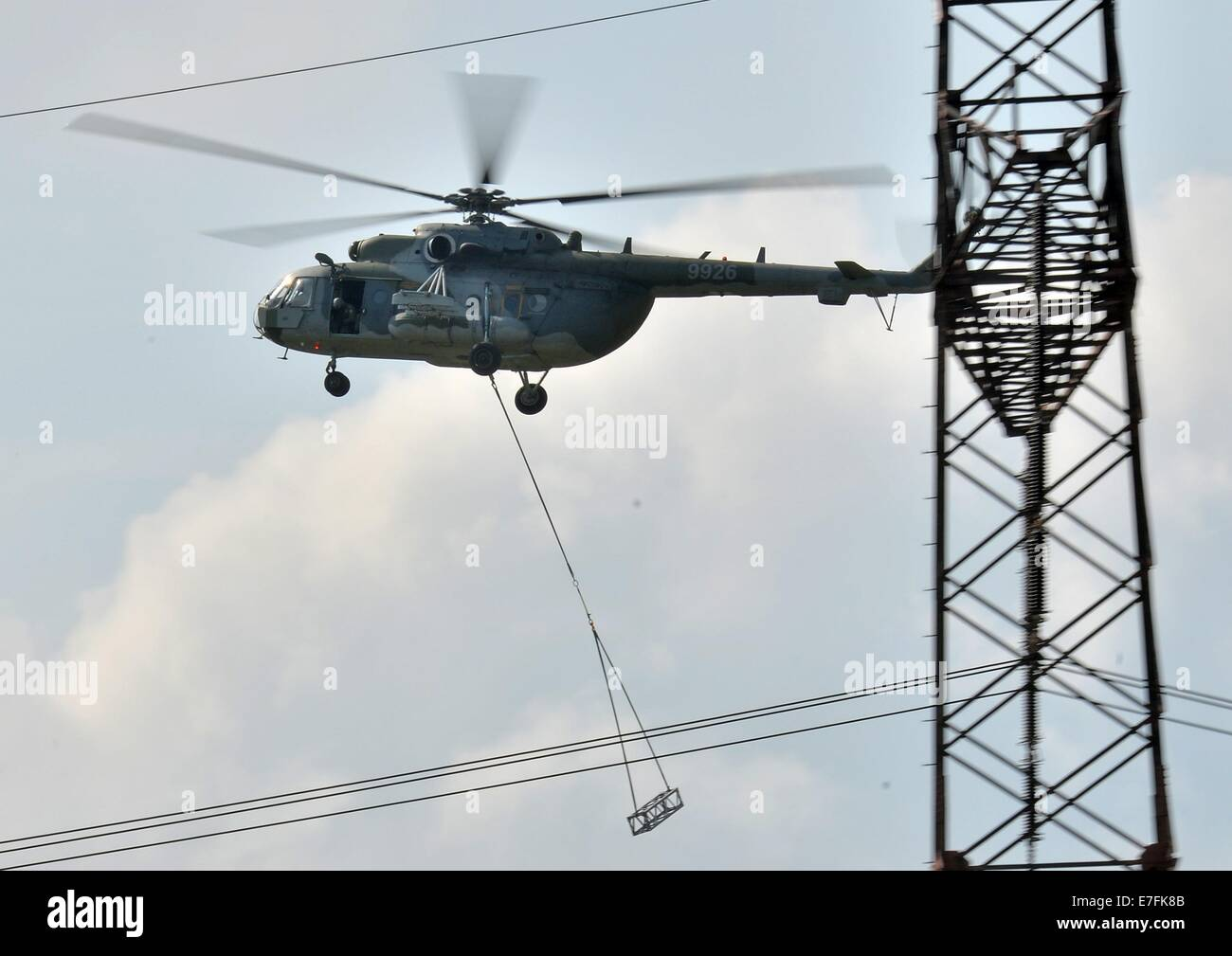 Hora Sv. Sebastiana, Czech Republic. 16th Sep, 2014. A Czech helicopter during an complex emergency exercise in - Stock Image