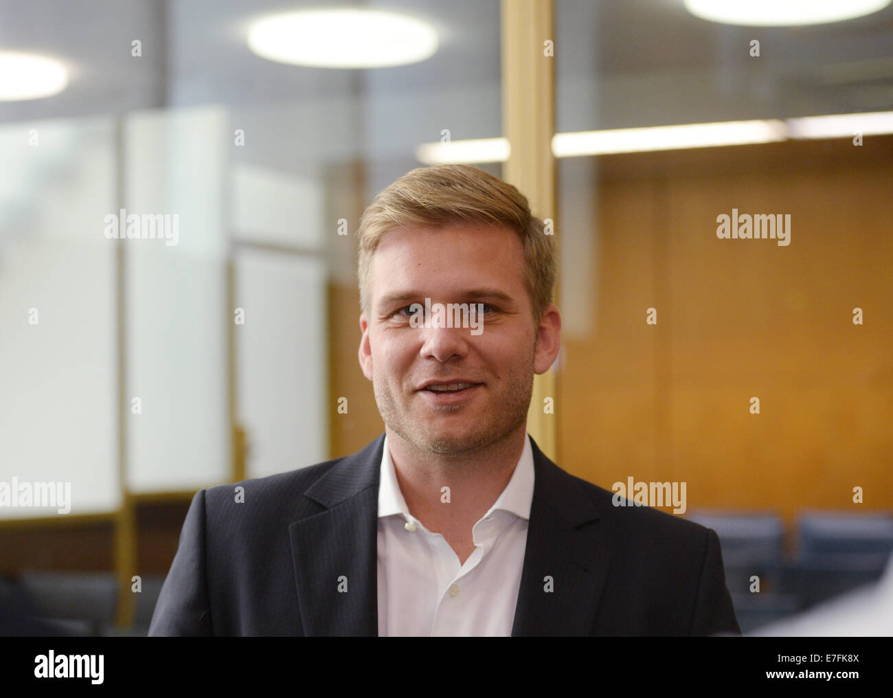 Frankfurt Main, Germany. 16th Sep, 2014. CEO of Uber Germany Fabien Nestmann before the hearing at the regional - Stock Image