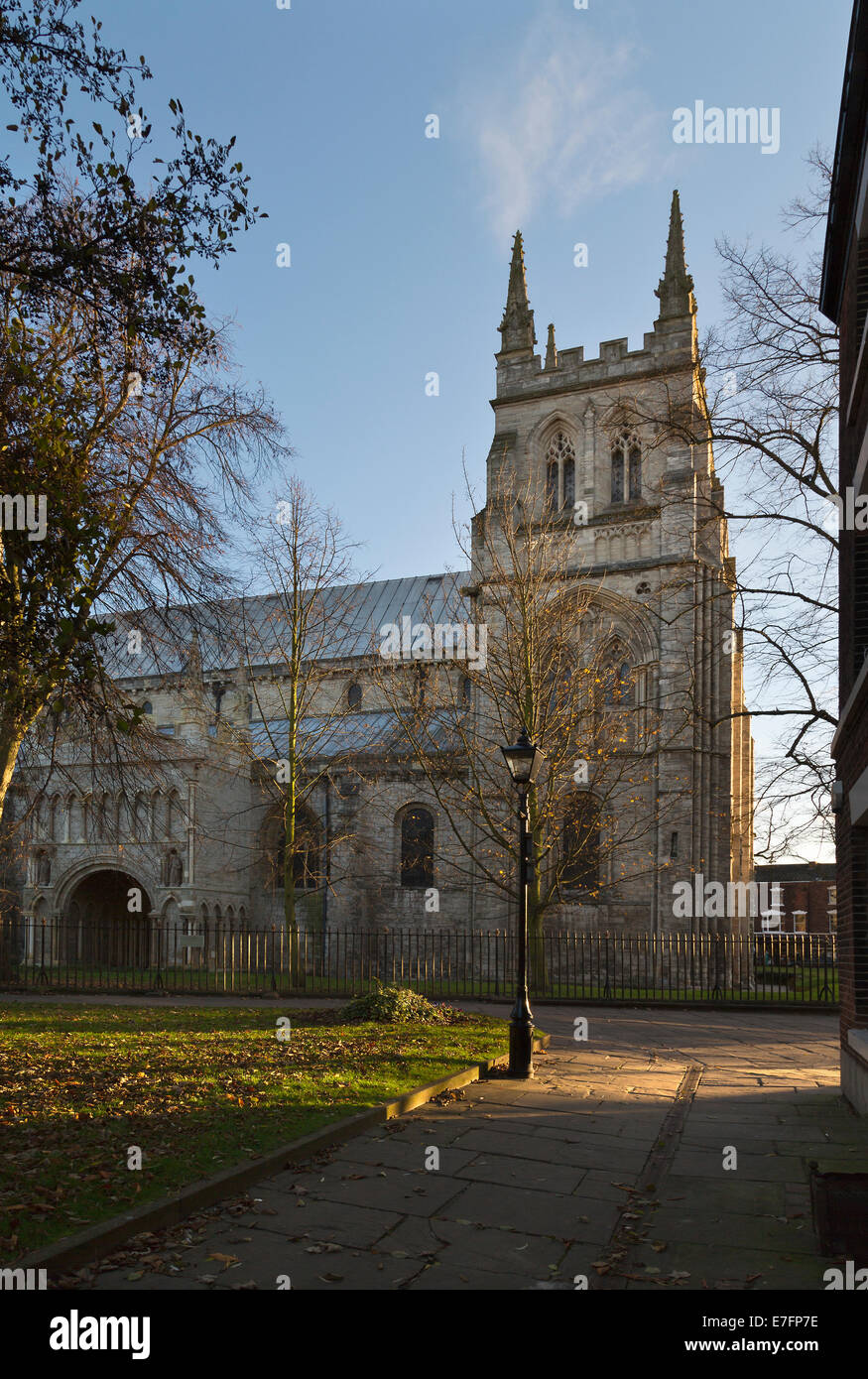 Selby Abbey  under the morning sunshine. - Stock Image