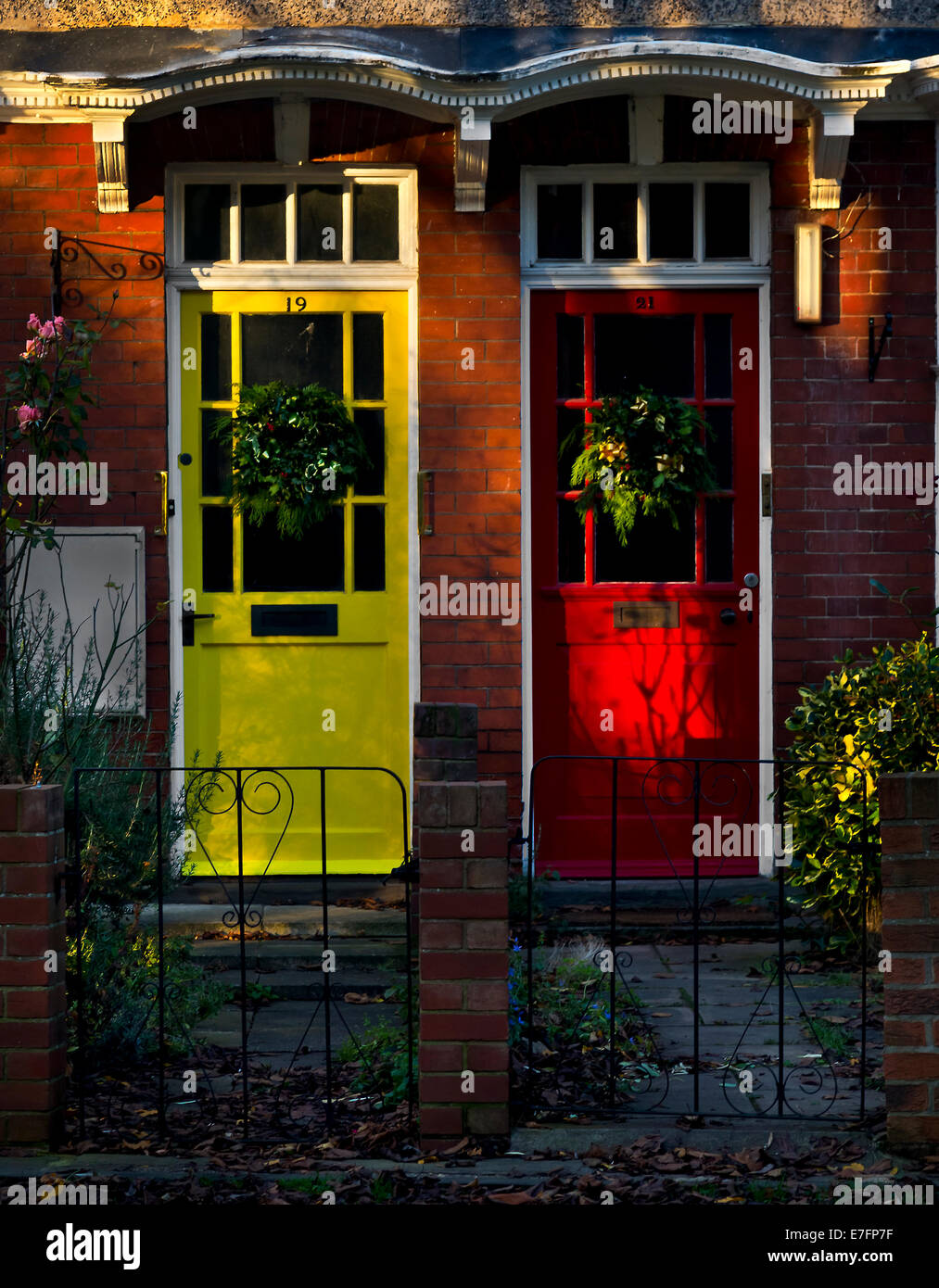 Two doors are  as neighborhood near Selby abbey. - Stock Image