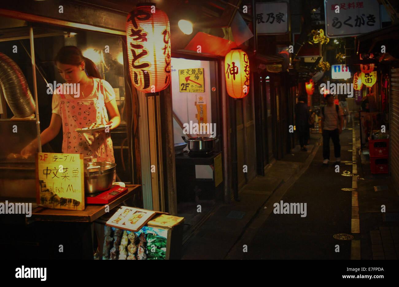 Food stall, Tokyo, Japan - Stock Image