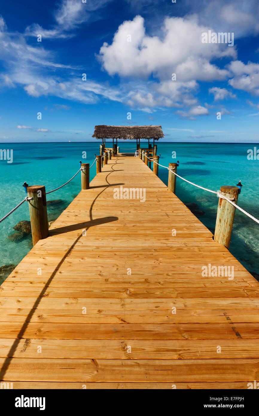 Woooden pier, Nassau the Bahamas. - Stock Image
