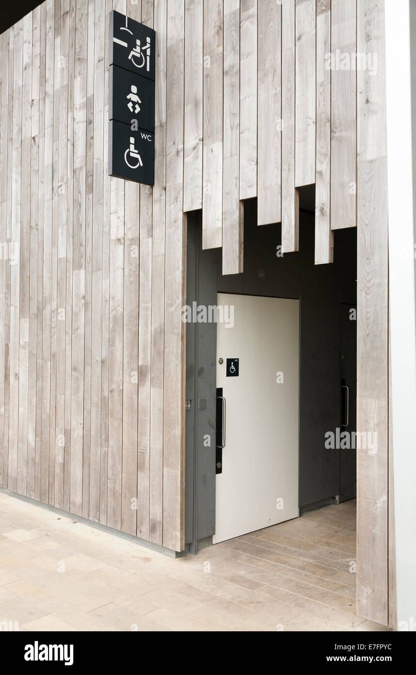 Door to the disabled toilet / loo / lavatory, for wheel chair wheelchair users, at Stonehenge / Stone Henge site, - Stock Image