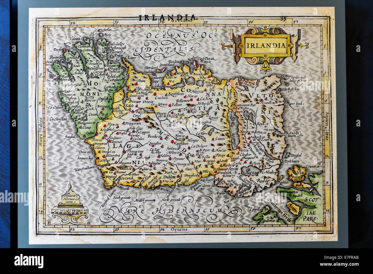 17th century map of Ireland - Stock Image