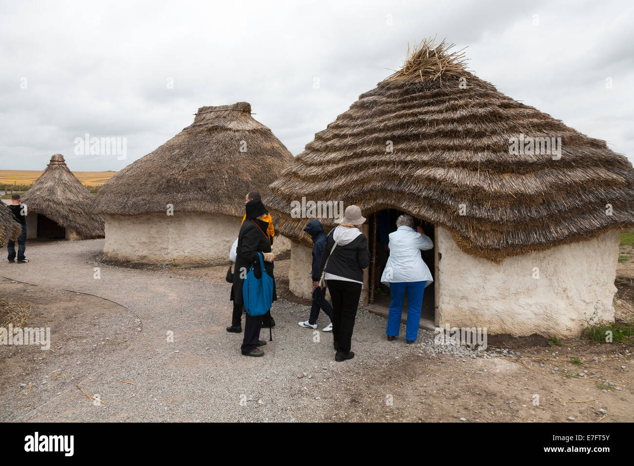 Tourist visitors view recreated Neolithic stone age hut / stoneage huts & thatched roof / roofs Exhibition Visitor - Stock Image
