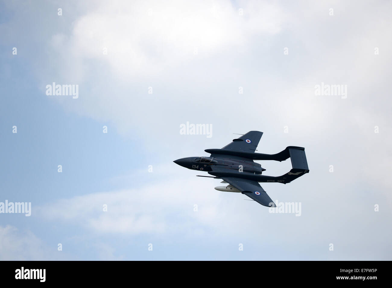 The last flying Sea Vixen aircraft in the skies above Yeovilton, Somerset, UK for the handover from Julian James. - Stock Image