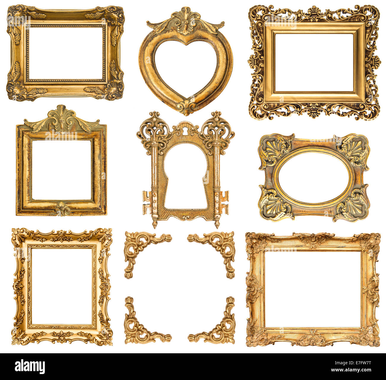 2850f3c7fa29 set of golden frames isolated on white background. baroque style antique  objects. vintage background