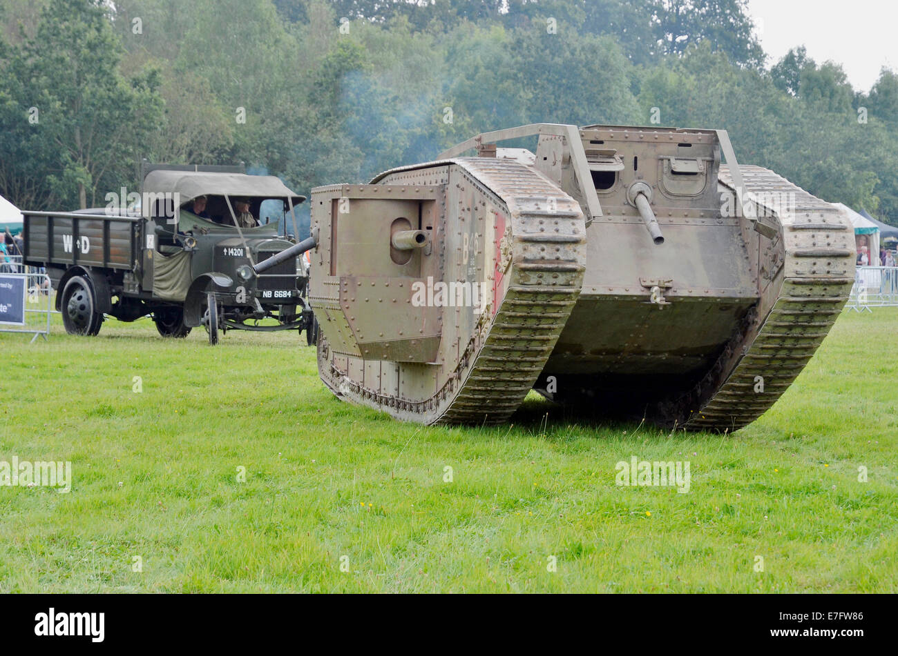 Replica British Mk IV tank of WW1 built for the Speilberg film 'Warhorse' and now based at The Tank Museum, - Stock Image