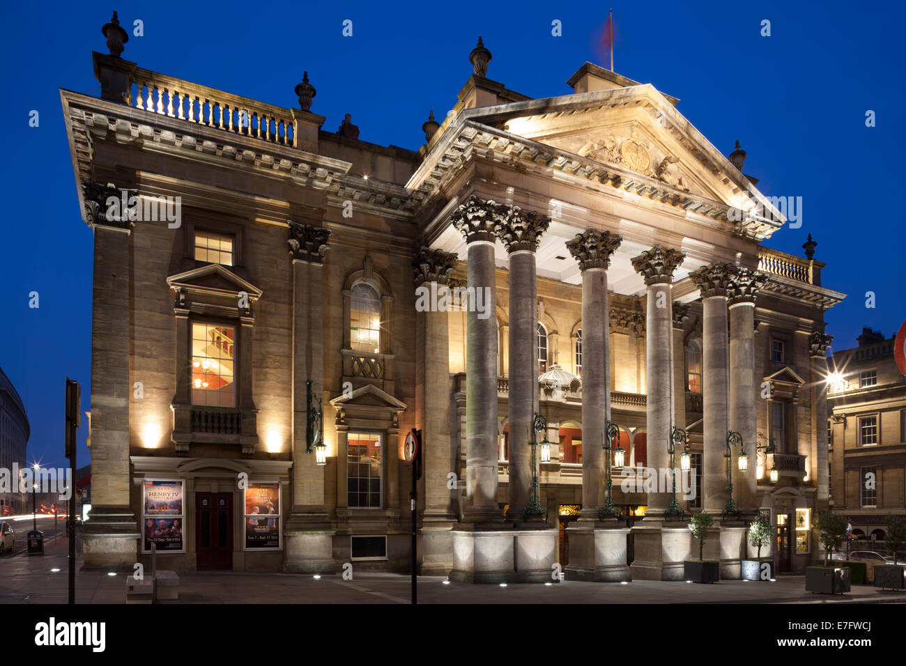 The Theatre Royal, Newcastle, at night. - Stock Image