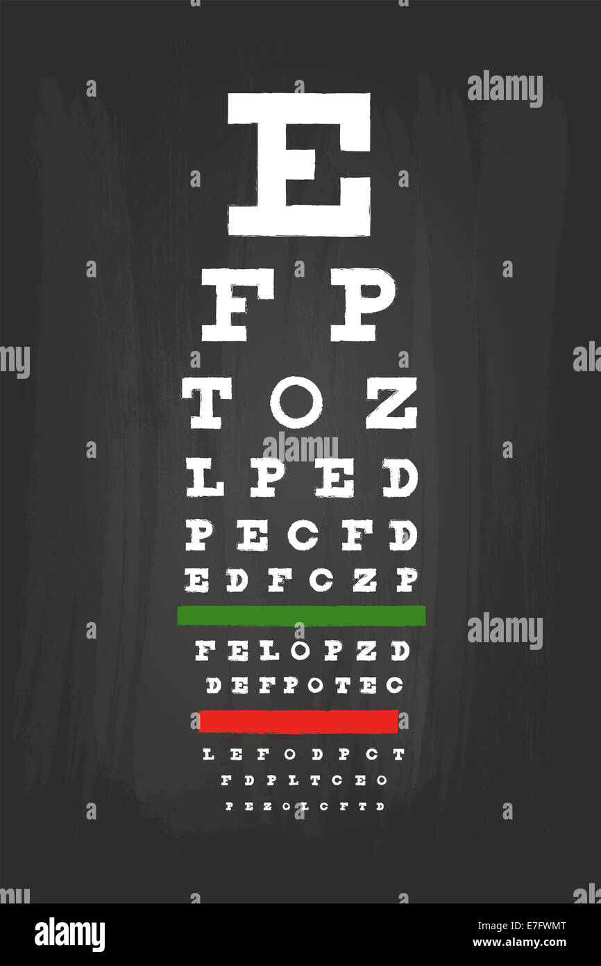 Eye Chart Check Up Test For Medical Use On Blackboard Stock Photo