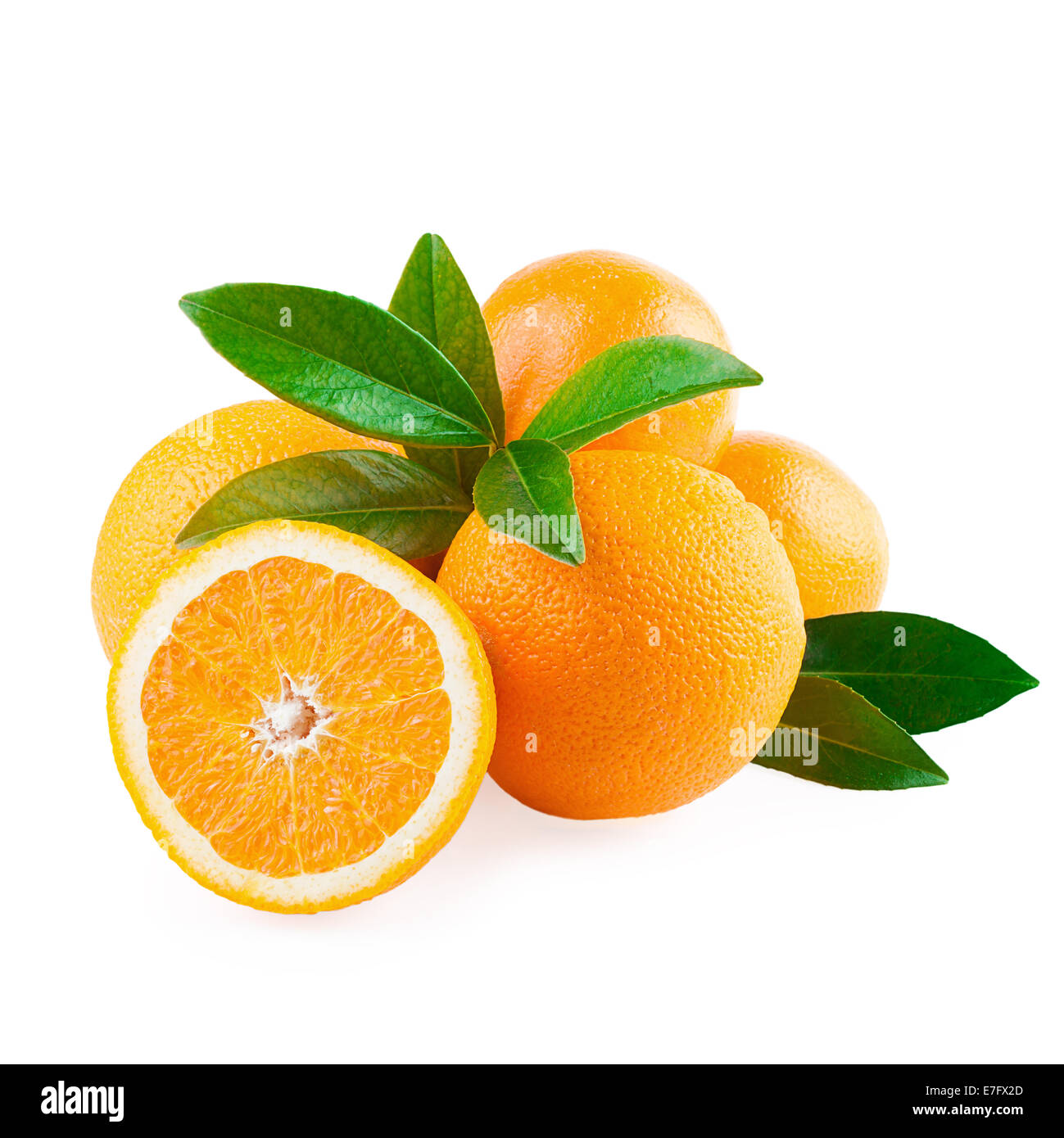 Oranges Fruits and Half of Fruit isolated on white - Stock Image