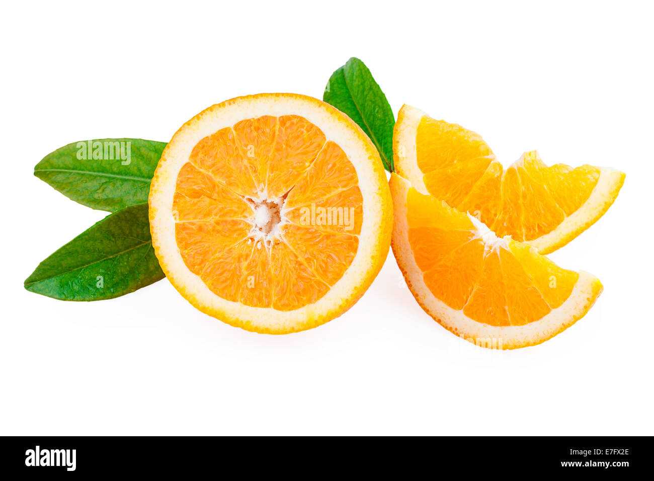 Oranges Fruit and slices of fruit - Stock Image