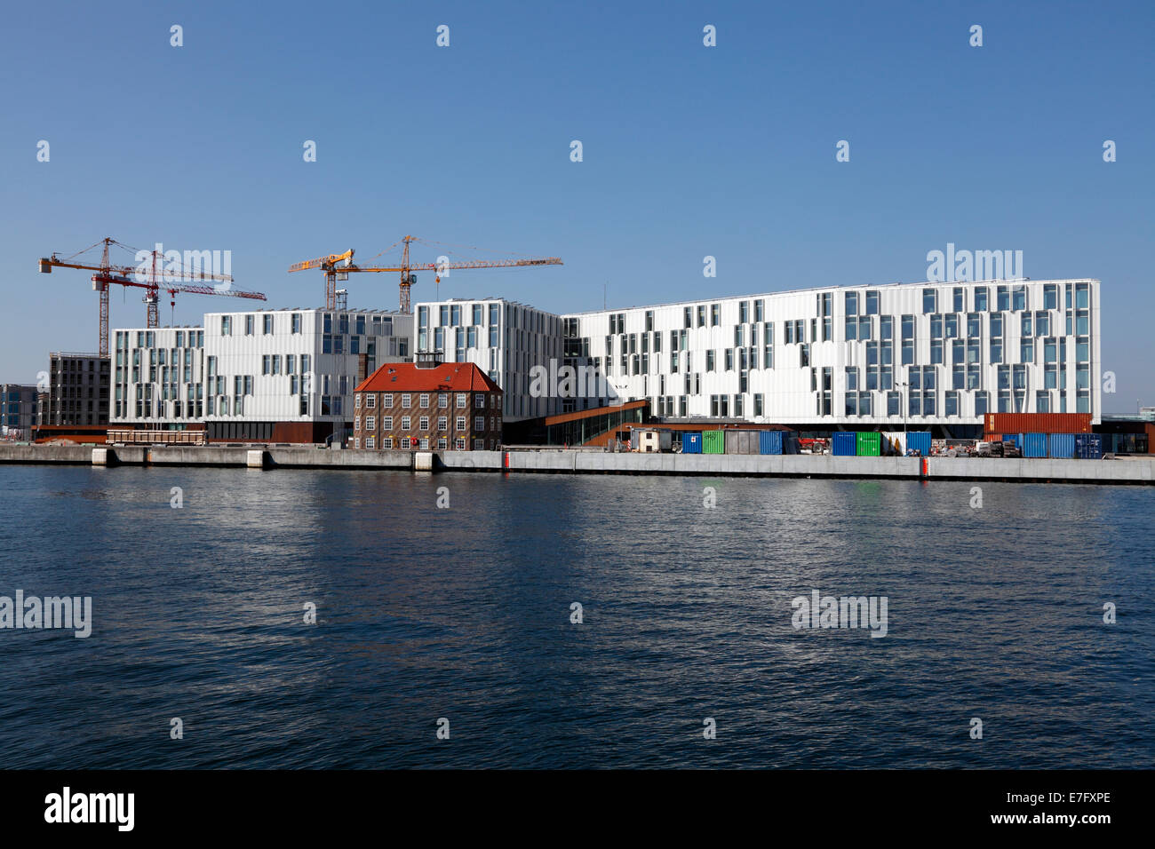 View of  the UN City octagon star-shaped building, UNOPS in Nordhavn, north harbour, in Copenhagen from the Langelinie - Stock Image
