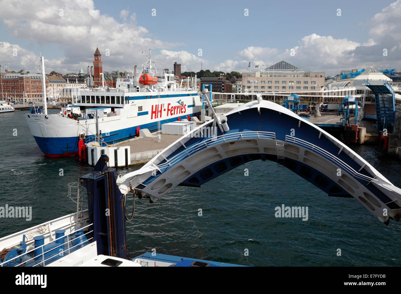 Scandlines ferry TYCHO BRAHE berths in Helsingborg beside the HH-ferry after the 20 minutes crossing of Oresund - Stock Image