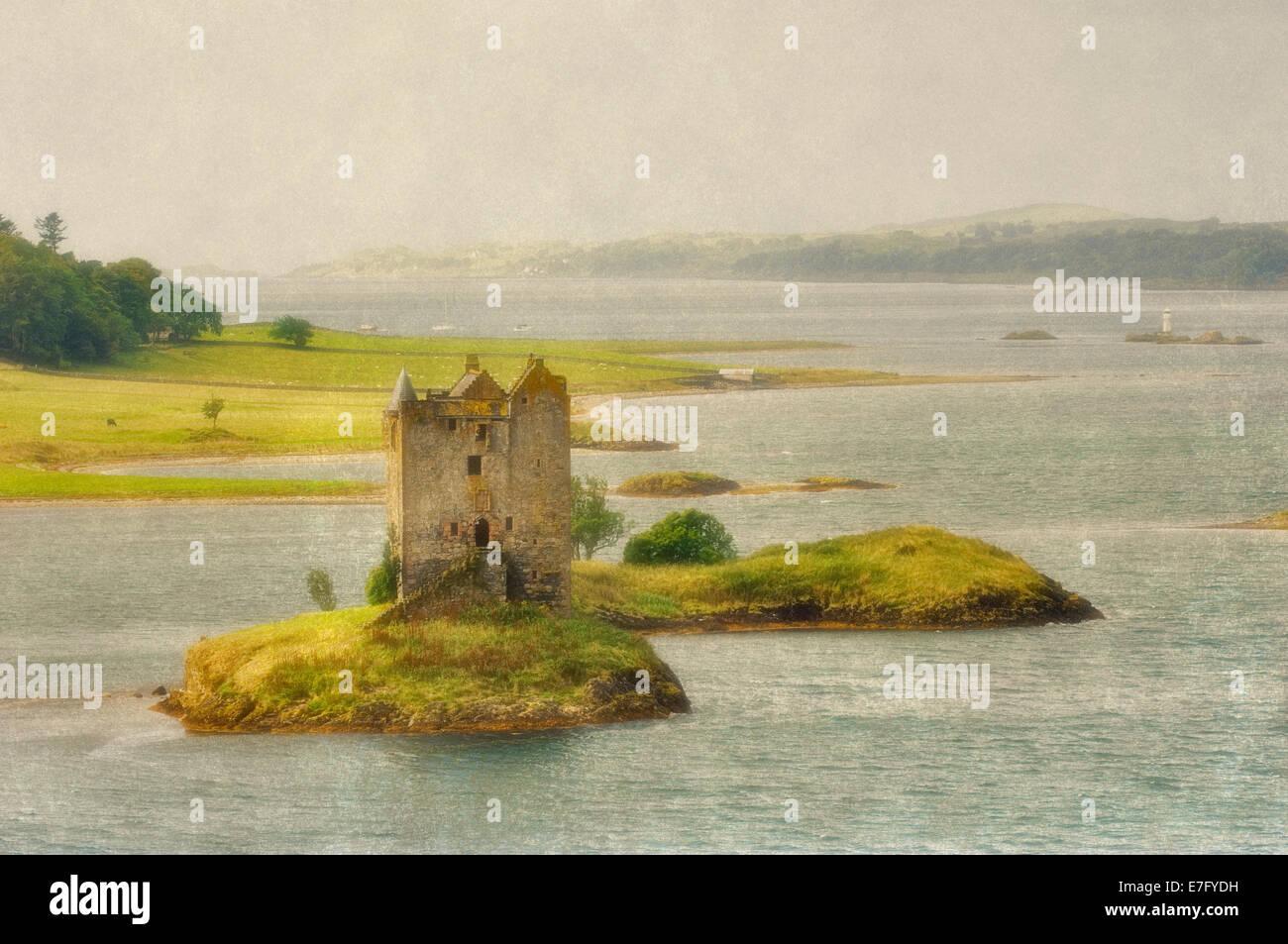 Artistic Rendering of Castle Stalker on Loch Linnhe near Port Appin in Scotland - Stock Image
