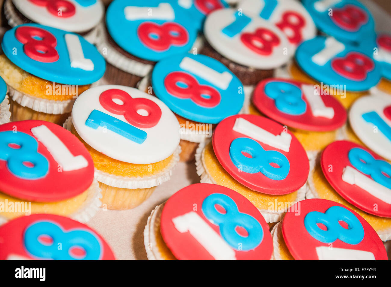 Capcake sweet and colorful custom to celebrate birthday of 18 years, when you become an adult - Stock Image