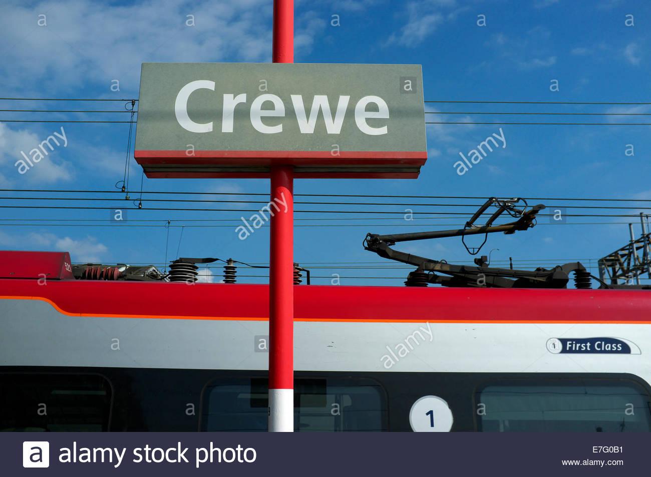 Virgin passenger train at Crewe railway station, in Cheshire, UK. - Stock Image