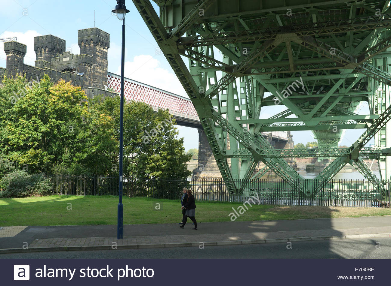 The Runcorn Railway Bridge (L) and the Runcorn - Widnes Bridge (Silver Jubilee Bridge)(R) as seen from Runcorn, - Stock Image