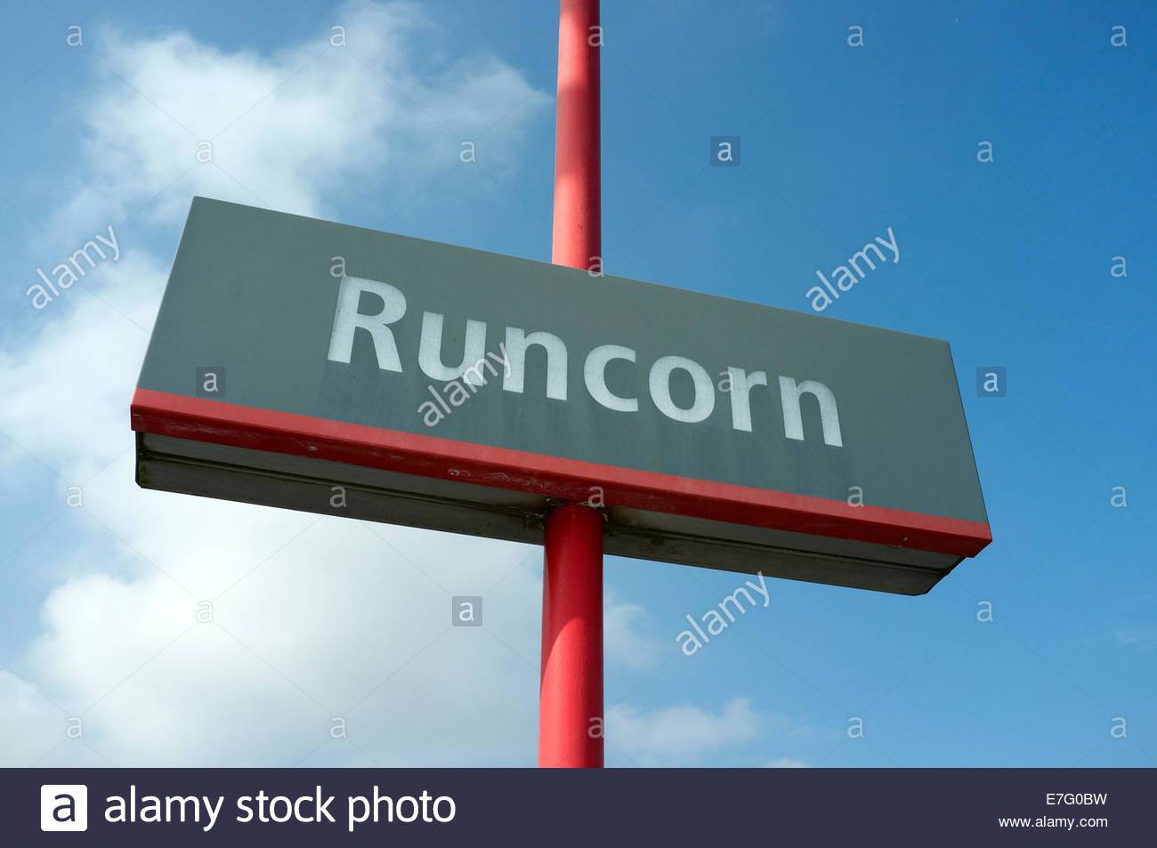 Runcorn - place name location sign at town's railway station, in Cheshire, UK. - Stock Image