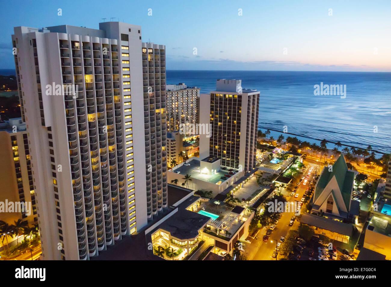 Hawaii Hawaiian Honolulu Waikiki Beach Pacific Ocean High Rise Stock