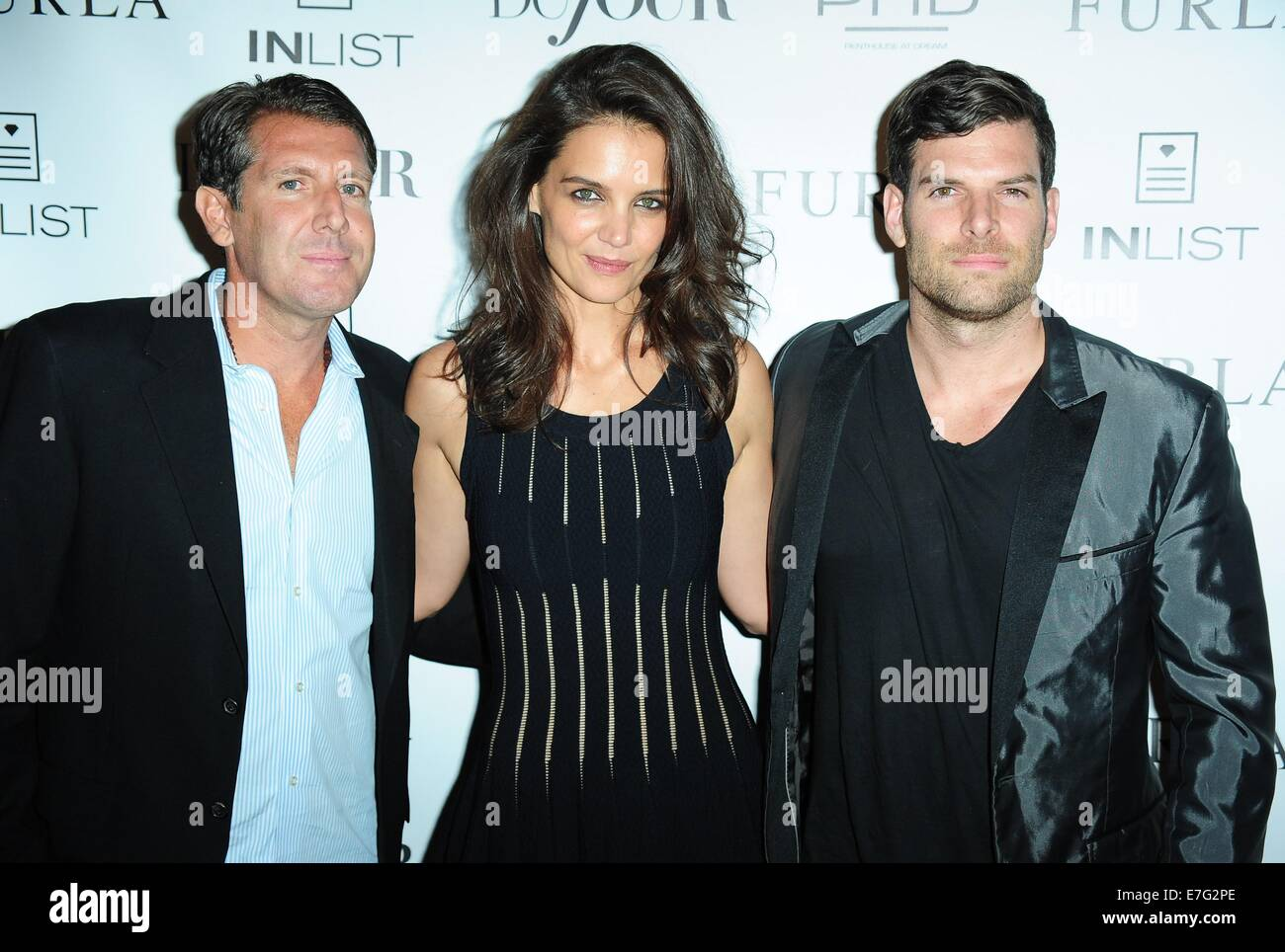 New York, NY, USA. 16th Sep, 2014. Michael Capponi, Katie Holmes, Gideon Kimbrell at arrivals for DuJour Cover Party, PHD Rooftop lounge at Dream Hotel Downtown, New York, NY September 16, 2014. Credit:  Gregorio T. Binuya/Everett Collection/Alamy Live News Stock Photo
